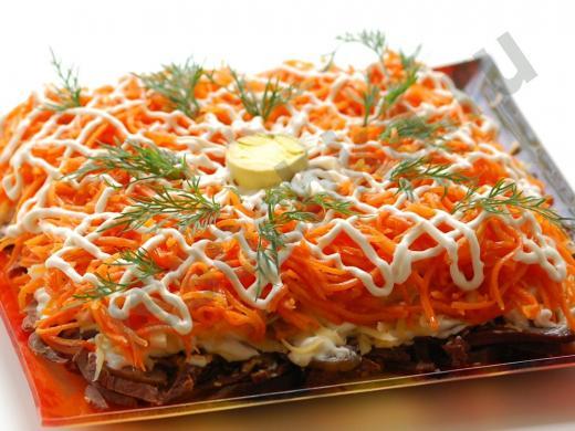 слоёный салат с мясом